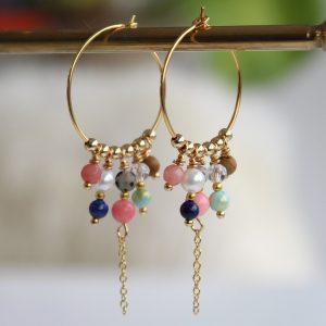 Cassiopeia-øreringe-guld-koralrød-hoops-creoler-earrings-14karat-forgyldt-sølv-halvædelsten-krystaller