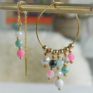 pastelfarvede perler på øreringe mixsæt af creoler og ørekæder i ægte 14 karat guld på sterlingsølv