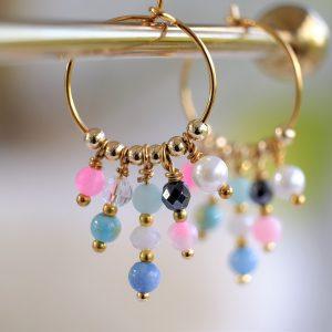 hoops guld pink blå mint ferskvandsperle