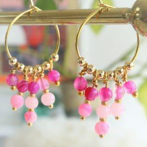 håndlavede unikke design øreringe creoler i 14 karat forgyldt sterlingsølv med pink perler