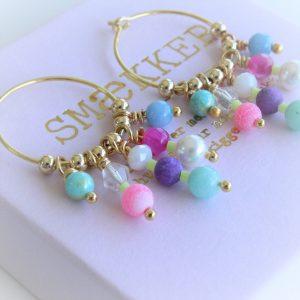 kreoler øreringe i 14 karat guld på sterlingssølv med perler i pink lilla turkis akvamarin hvid blå og guld