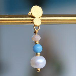 perle guld ørestik med himmelblå smykke sten