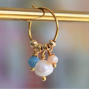 Perle guld creol ørering med ægte perle ferskvandsperle og himmelblå perle