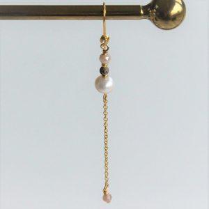Perle guld ørering med kæde og Ørekrog med zirkon