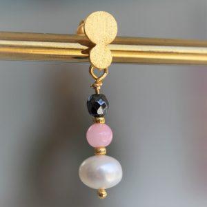 Perle guld creol ørering med ægte perle ferskvandsperle og pink lyserød perle