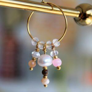 perle guld creol med ægte ferskvandsperle og lyserød pink perle
