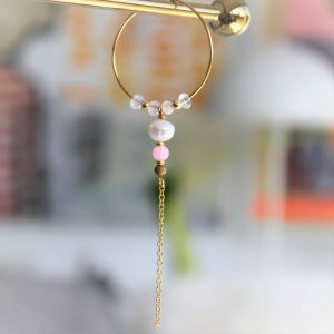 perle guld stor creol med ægte ferskvandsperle og lyserød perle