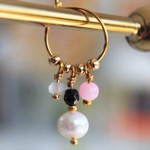 Perle guld creol med pink perle og ægte ferskvandsperle