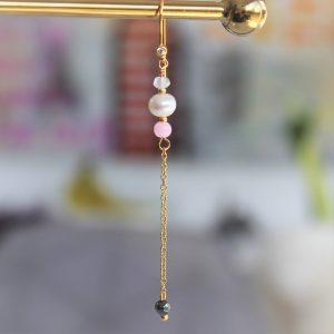 Perle guld ørekrog med ægte ferskvandsperle og lyserød pink perle