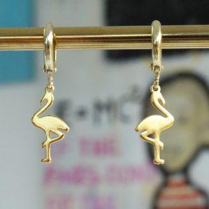 flamingo guld huggies øreringe