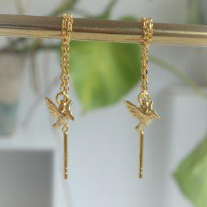 kolibri ørekæder kædeøreringe i guld