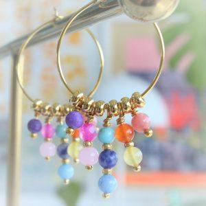 regnbue guld øreringe i ægte forgyldt sølv