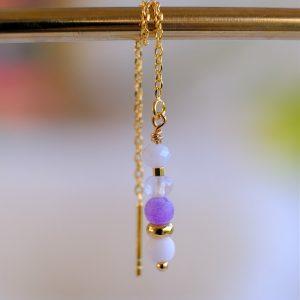 ørekæde i 14 karat guld belagt på sterlingsølv med lilla farvet perle