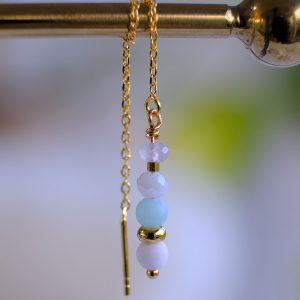 ørekæde i 14 karat guld belagt på sterlingsølv med mint farvet perle