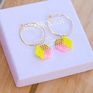 guld Øreringe med gule pink og forgyldte perler