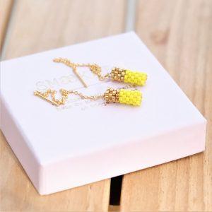 øreringe guld ørekæder i forgyldt sterlingsølv med gule og 24kt forgyldte perler